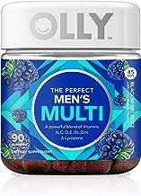 OLLY The Perfect Mens Gummy Multivitamin, 45 Day Supply (90 Gummies), BlackBerry Blitz, Vitamins A, C, D, E, B, Lycopene, Zinc, Chewable Supplement