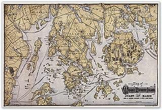 Antiguos Maps MAP of Mount Desert Island & Coast of Maine Circa 1900 - Measures 24