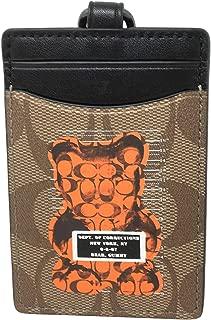 Coach Signature PVC Gummy Lanyard Badge ID Holder F77927 Tan