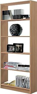 Estantería librería Biblioteca Abierta Color Roble 5 estantes y molduras Decorativas para Oficina despacho o Estudio. 18...