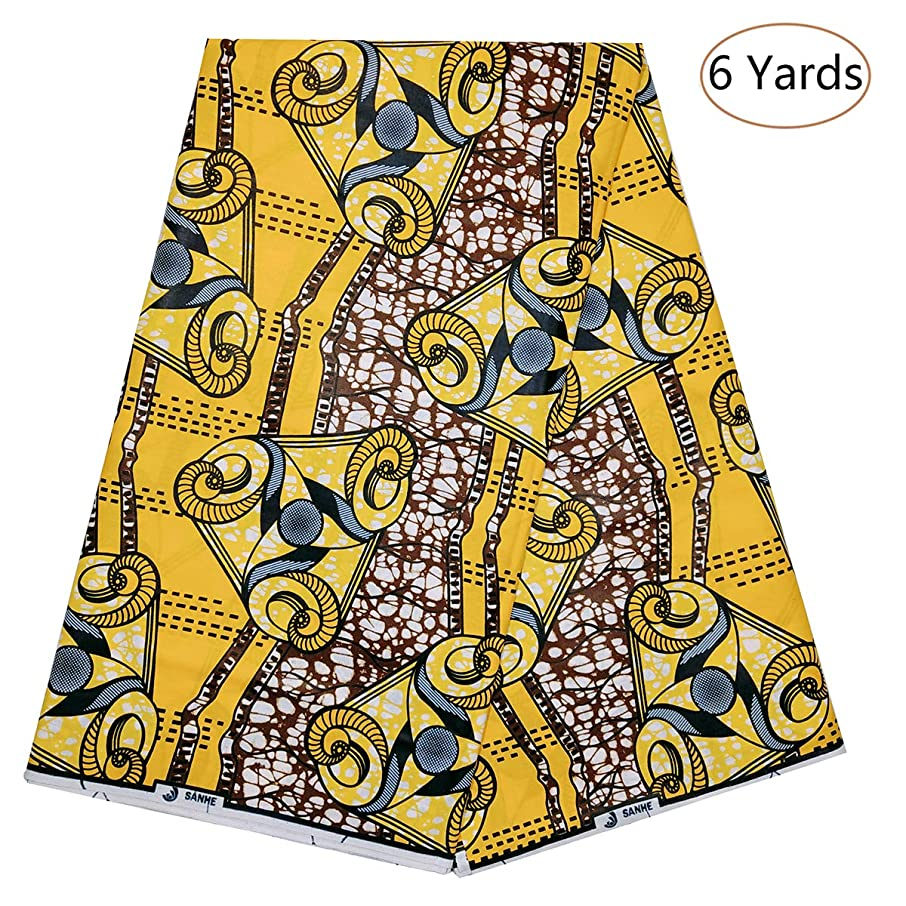 Dexuelan Latest African Fashion Batik Fabrics 6 Yards Ankara African Fabric for Sewing Dress Clothing Designs (Yellow and Brown)