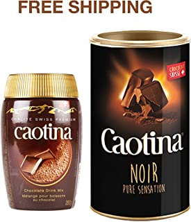 Caotina Cocoa Drink Classic 200 g and Black Cocoa Drink 500 g with Swiss Chocolate, Caotina/Switzerland
