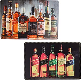 MMOUNT Whiskey Johnnie Walker Bar Tin Signs 12X8In 2pcs