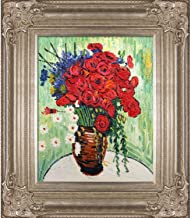 "La Pastiche Vase with Daisies and Poppies by Vincent Van Gogh Oil Painting, 8"" x 10"", Renaissance Champagne Frame"