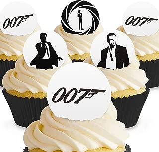 Cakeshop 24 x PRE-CUT James Bond 007 Edible Cake Toppers