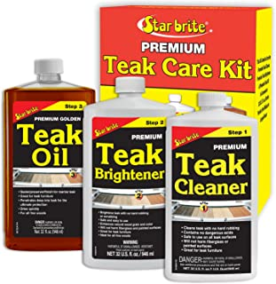Star Brite Premium Teak Care Kit - 3 Easy-to-use 32 Oz Products to Restore, Beautify & Protect Marine Teak