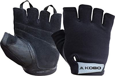 Kobo WTG-48 Weight Lifting Gym Gloves Leather Hand Protector for Fitness Training (Multi Colour)