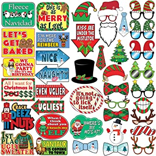 Christmas Photo Prop Pack - 40 pcs - Ugly Sweater Party Decorations, Supplies and Gifts