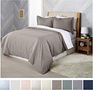Great Bay Home Extra Soft Flannel Duvet Cover with Button Closure. 100% Turkish Cotton 3-Piece Set with Pillow Shams. Nordic Collection (Full/Queen, Taupe)