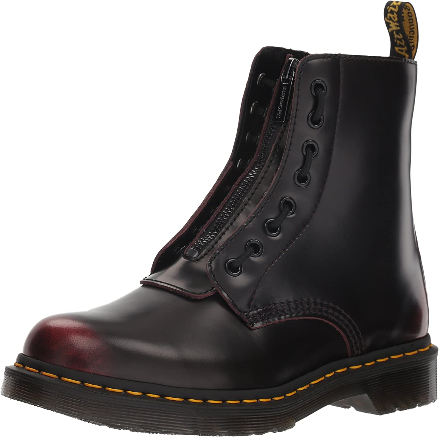 Dr. Martens Women's 1460 Pascal FRNT Zip Mid Calf Boot, red, 5 M UK (7 US)