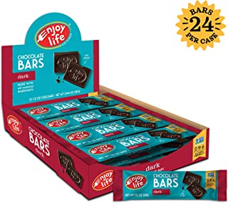 Enjoy Life Chocolate Bars, Soy free, Nut free, Gluten free, Dairy free, Non GMO, Vegan, Paleo, Dark Chocolate, 1.12 Ounce Bars (Pack of 24)