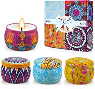 Yinuo Candle Velas Perfumadas Vela Aromática Caja de Regalo 4 Latas, 4.4 oz, 120 Horas de Quema, Cera de SOYA con Tarjeta ...