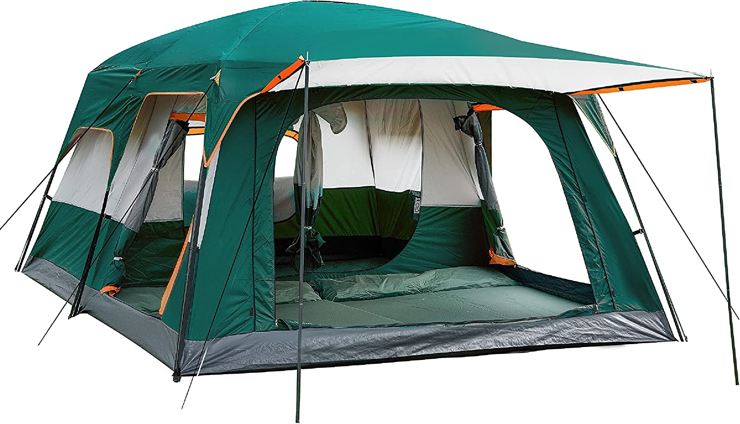 Buy KTT Extra Large Tent 12 Person(Style-B),Family Cabin Tents,2  Rooms,Straight Wall,3 Doors and 3 Windows with Mesh,Waterproof,Double Layer,Big  Tent for Outdoor,Picnic,Camping,Family,Friends Gathering Online in  Indonesia. B08MDTJTZP