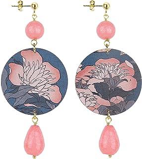 IN Lebole Collezione The Circle DOR12 Fiore Rosa Orecchini da Donna in Ottone Pietra Rosa Sfaccettato