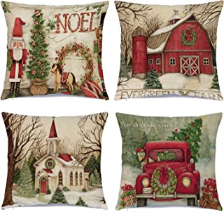 Christmas Pillow Covers 18 x 18 Inches Set of 4 - Xmas Series Cushion Cover Case Pillow Custom Zippered Square Pillowcase (1 Christmas)
