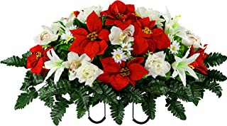 Sympathy Silks Artificial Cemetery Flowers – Realistic Vibrant Roses, Outdoor Grave Decorations - Non-Bleed Colors, and Easy Fit - Red Poinsettia and White Orchid Saddle