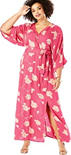 Women's Plus Size Crinkle Belted Maxi Dress