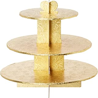 Enjay Cupcake Stand, 8.5 by 12.5 by 14.5-Inch, Gold