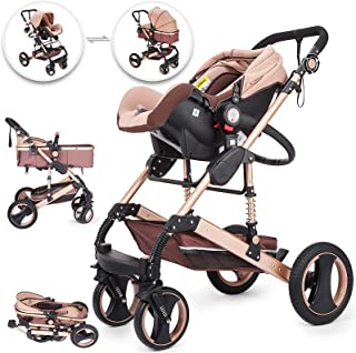 Happybuy 3 in 1 Foldable Luxury Baby Stroller Travel System with Baby Basket Anti-Shock Springs Newborn Baby Pushchair Adjustable High View Pram Travel System Infant Carriage Pushchair(No Base)
