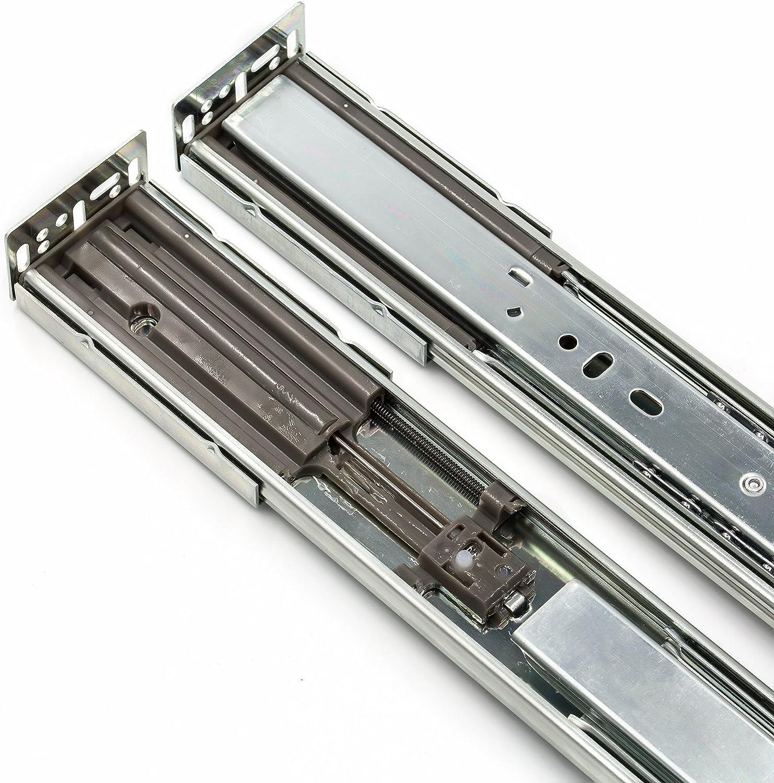Close Metal Drawer Slides 16 Inch Full Extension and Ball Bearing Drawer Slides 1 Pair Soft LONTAN SL4502S3-16 Drawer Slides Heavy Duty 100lb Capacity