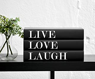 Live Love Laugh Decorative Quote Books for Decorating (Set of 3), Decor for Bookshelves and Coffee Tables