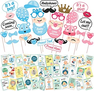 WOBBOX Baby Shower Combo of Photo Booth Party Props and Milestone Cards - Combo DE
