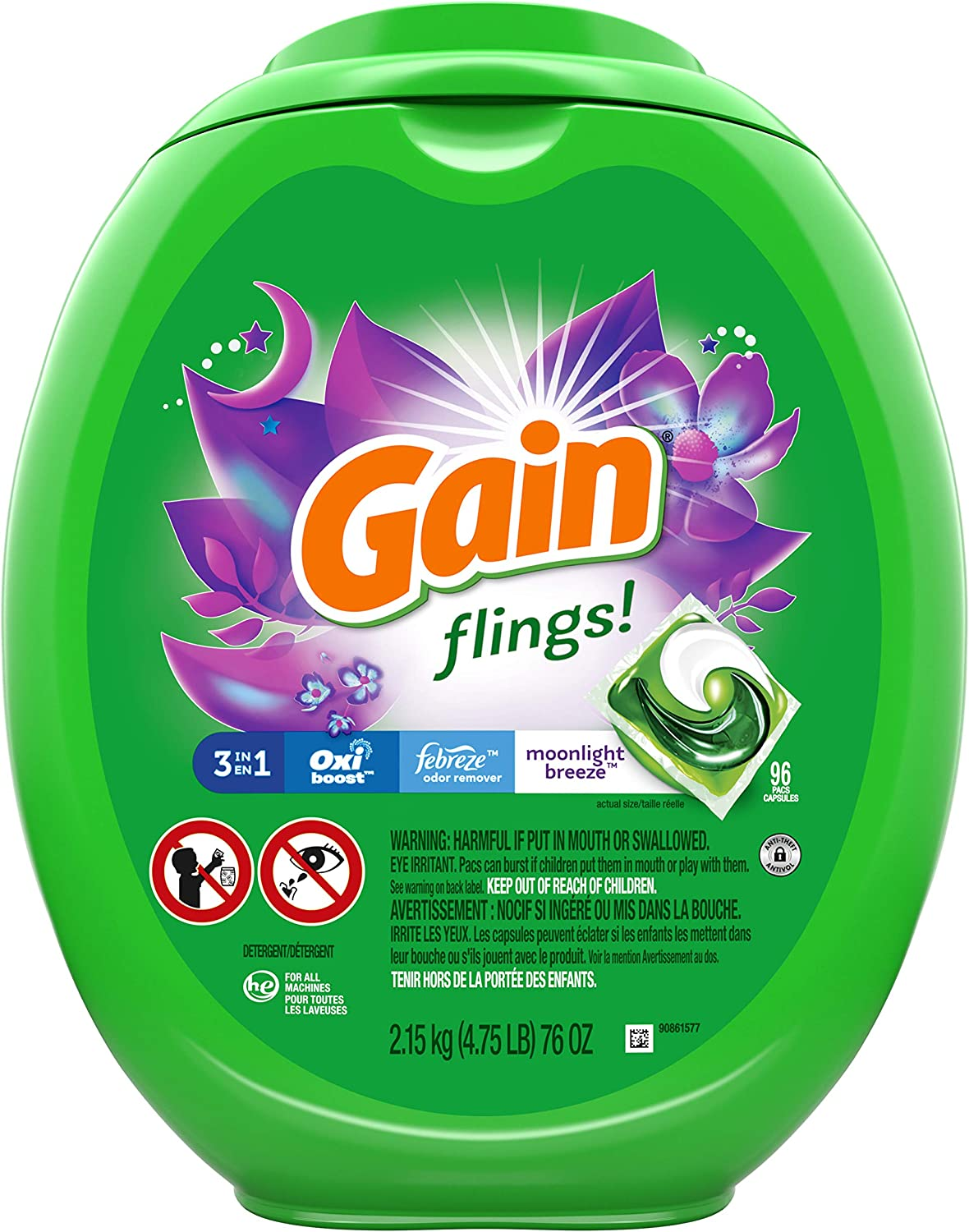 Gain flings! Laundry Detergent Soap Pacs, High Efficiency (HE), Moonlight Breeze Scent, 96 Count : Health & Household