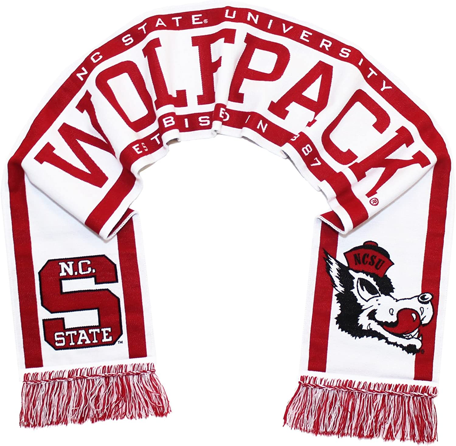 Tradition Scarves NC State Wolfpack Scarf - Hungry Wolf Throwback White Woven
