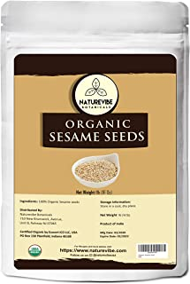 Naturevibe Botanicals Organic Sesame Seeds - 1lb , Unhulled White | Gluten-Free & Non-GMO | Keto Friendly (16 Ounces) [Packaging may vary]