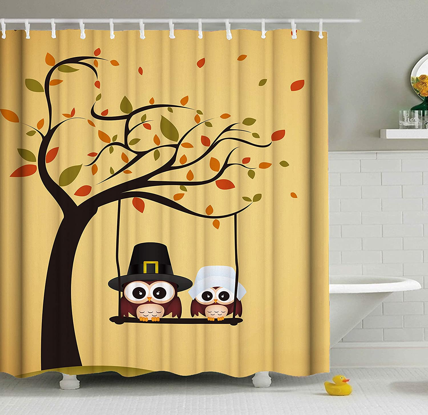 Amazon Com Shinesnow Funny Lovely Cute Owl Tree Yellow Swing Thanksgiving Shower Curtain Set 60 X 72 Inches Home Decor Bathroom Accessories Waterproof Polyester Fabric Curtains Home Kitchen