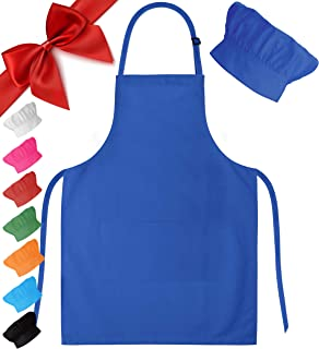 Dapper&Doll Blue Kids Chef Hat and Apron for Boys Girls Ages 4-10