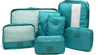 Kroeus 7set Packing Cubes Travel Luggage Organizer Compression Pouches Blue