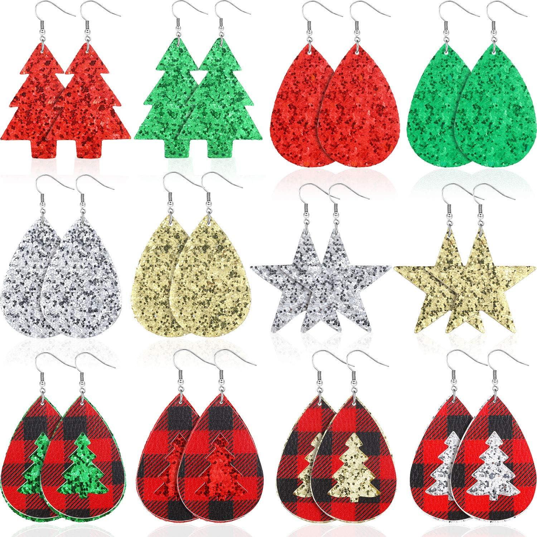 12 Pairs Christmas Faux Leather Earring Leaf Drop Dangle Earring Teardrop Earring for Woman Girls (Glitter Star)