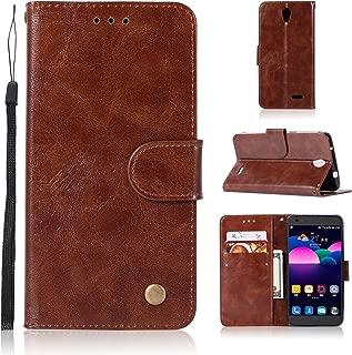 ZTE Prestige N9132 / Avid Plus Z828 / Maven 2 Z831 / Sonata 3 Z832 / Avid Trio Case, Asstar [Card Slots Holder] PU Leather Dual Wallet TPU Shockproof Full Body Protective Cover Case (Brown)