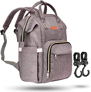 Zuzuro Diaper Mommy Bag - Waterproof Backpack w/Large Capacity & Multiple Pockets for Organization. Ideal for Travel Nappy Bags - W/Insulated Bottle Pocket. 2 Stroller Hooks Incl (Gray)
