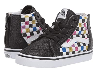 Vans Kids Sk8-Hi Zip (Infant/Toddler) ((Glitter Checkerboard) Black/True White) Girls Shoes