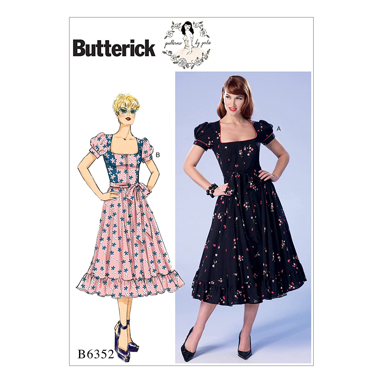 Butterick Patterns B6352 A5 Misses'/Misses' Petite Square-Neck, Zip-Front, Ruffled Dresses and Belt by Gertie, Size 6-14 (6352)