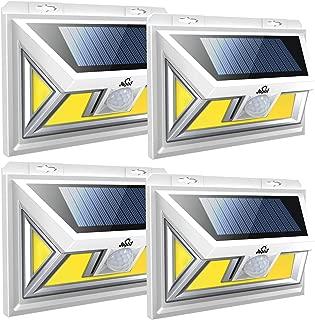 JUSLIT Solar Lights Outdoor, 74 COB LEDs Motion Sensor Light, 2 Modes Wireless Security Wall Lighting W/ 270° Wide Angle, IP65 Waterproof, for Patio, Garden, Deck, Porch, Pathway, Garage, Yard (4PK)