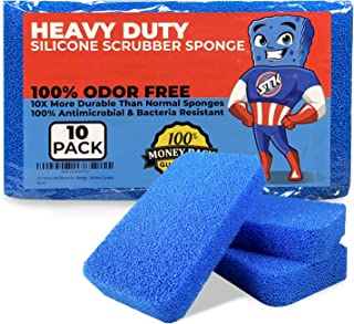 Sponsored Ad - STK Heavy Duty Silicone Scrubber Sponges (10 Pack) - Modern Antimicrobial Kitchen Sponges - 100% Mold Milde...