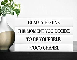 Fashion Quote Decorative Book Set, Beauty Begins the Moment You Decide to Be Yourself, Decorative Books, Fashion Home Decor, Coffee Table Books