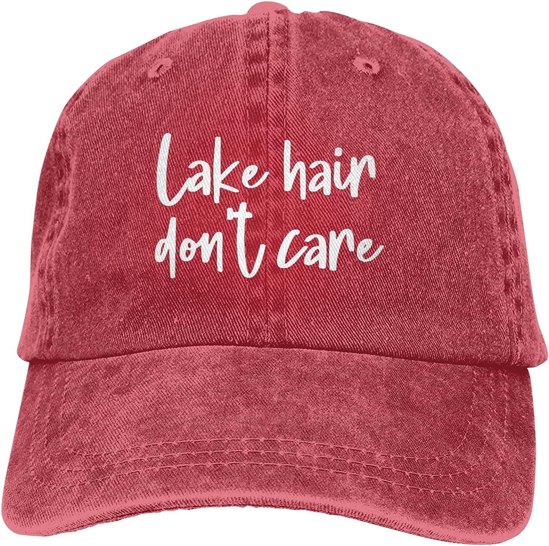 OASCUVER Lake Hair Don't Care Hat, Distressed Cotton Adjustable Lake Life Baseball Cap for Men Women