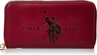 US Polo Womens Large Zip Around Wallet, Red - BIUFS0595WVP400