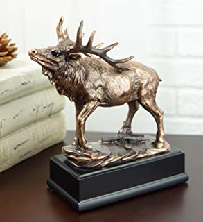 """Ebros The Emperor Large Wapiti Bull Elk Deer Rustic Statue in Bronze Electroplated Finish with Trophy Base 7"""" Wide Wildlif..."""