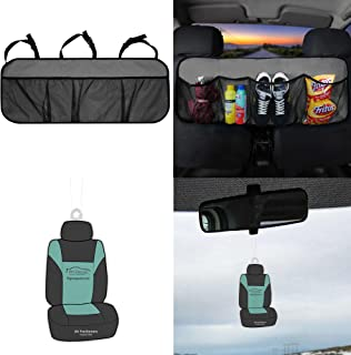 FH Group FH1122 Multi-Pocket Trunk Organizer- Great for Storage, Gray Color w. Free Air Freshener- Fit Most Car, Truck, SUV, or Van