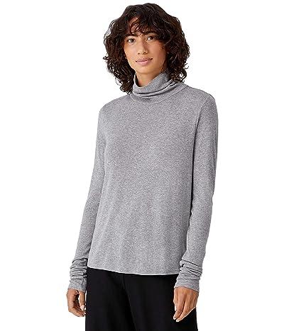 Eileen Fisher Turtleneck Scrunch Sleeve Slim Top in Organic Pima Cotton Tencel Rib