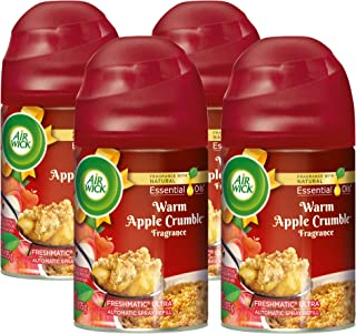 Air Wick Holiday Freshmatic 4 Refills Automatic Spray, Warm Apple Crumble, (4X6.17oz), Air Freshener