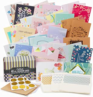 Cortesia All Occasion Premium Greeting Cards Assortment - 40 UNIQUE DESIGNS with GOLD and SILVER EMBELLISHMENTS, Box set incl. Natural Linen Color Envelopes with Printed Patterns and Kraft Paper Cards