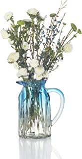 Ekirlin Glass Mug Shape Flower Vase,Blue Vases for Tabletop Plant Glass Vases for Weddings, Events,Decoration,Arrangements,Office Desktop,or Home,Bookshelf (Blue)