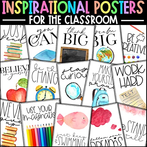 Classroom Decor- Watercolor Positive and Motivational Growth Mindset Posters