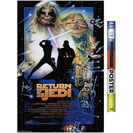 """Trends International Star Wars: The Return of The Jedi - One Sheet Wall Poster, 22.375"""" x 34"""", Premium Poster & Clip Bundle"""